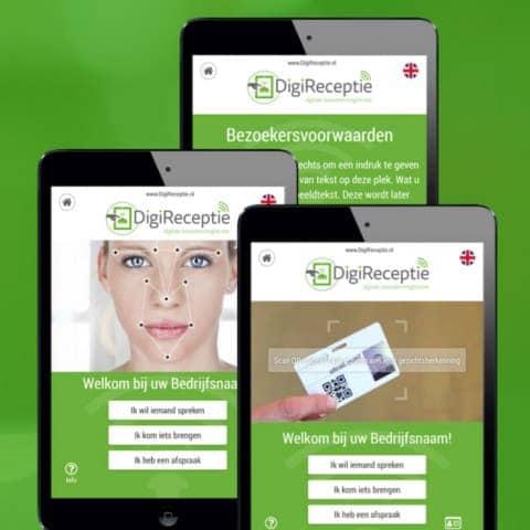 Digitale receptie met printers en bezoekerspasjes van DCP