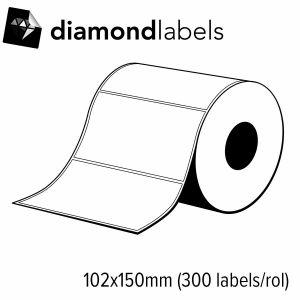 Diamondlabels 102x150mm mat papier voor  direct thermisch desktop labelprinters 1 rol á 300 labels