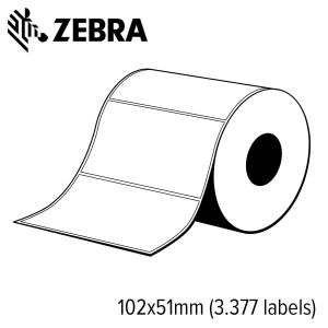 Z 3012950   zebra polypro 3000t gloss 102x51mm voor labelprinter