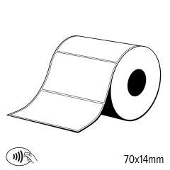 L 100   label rfid uhf 70 x 14 mm. papier. impinj monza r6. met