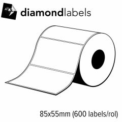Diamondlabels 85x55mm glanzend inkjet labels permanente lijm voor C3500 1 rol á 600 labels