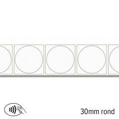 L 100 30r   nfc sticker ntag 216 rond 30 mm wit permanent kleven