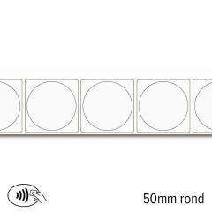 NFC sticker Ntag 216 rond 50 mm wit papier permanent klevend